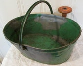 REDUCED 25%!!! Antique French Green Steel Grape Industrial Carrier~ Firm Handle~Firewood Holder~Guest Towels