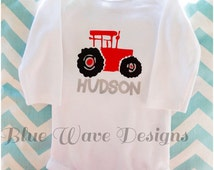 Personalized Red Tractor Long Sleeved Onesie, Baby Shower Gift, Christmas Gift, Custom