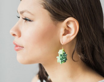 Living succulent dangly earrings, gorgeous teardrop earrings, living jewelry, natural jewelry.