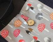 Women's Tote bag denim with mushroom fabric panel