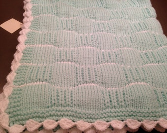 Two tone baby blanket, hand made