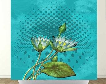 Aqua Lotus Shower Curtain