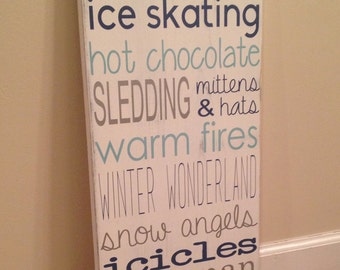 Winter Things sign - wood wall art