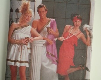 Toga dress / mens / womens/ adult/ flapper / Halloween costume 2001 sewing costume, Bust 30 31 32 34 36 38 40 42 44, Butterick 4199