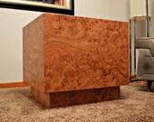 Mid Century Burlwood Cube Table - Milo Baughman Style