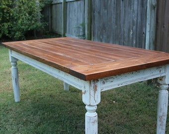 Handcrafted Solid Wood Farmhouse Dining Table