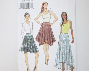 Very Easy Vogue 9007 ~ Flared Summer Skirt With Yoke, Shaped Hem and Side Pockets SIZE 6-8-10-12-14 UNCUT Sewing Pattern