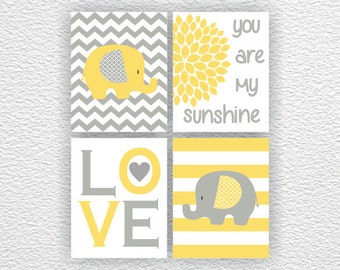 Yellow and Gray Elephant Chevron, Love, You are my sunshine, children's Room Decor Art Set of 4, 8x10, Nursery Printable, INSTANT DOWNLOAD