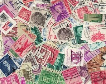 100 Used Vintage U.S. Postage Stamps