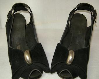 Vintage 1940's Delman Black Suede Peep Toe Sling Back Pumps Sz 5 B