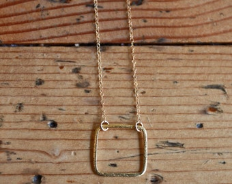 Gold Square Necklace, Gold Cube Necklace, Dainty Square Necklace, Open Square Necklace, Delicate Necklace, Tiny Necklace, Handmade Necklace
