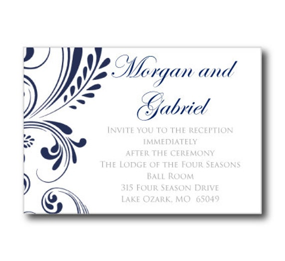 wedding reception card template navy wedding by clearylane. Black Bedroom Furniture Sets. Home Design Ideas