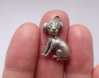 6 Antique Silver Dog Charms 22x13mm - SC114