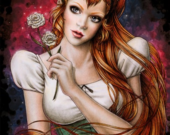 Thumbelina - Original Fantasy Art by Enys Guerrero