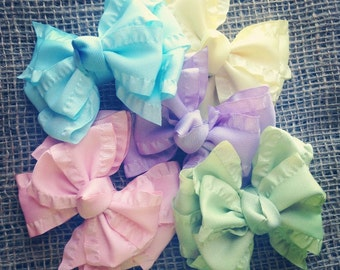 The pastels, double ruffle bow set of 5, pastel bows, double ruffle bows, ruffle bows, pastel double ruffle bows
