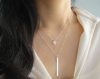 Sterling Silver Layering Necklace Set, Silver Disc Necklace, Silver Bar Drop Necklace, Vertical Silver Bar Necklace, Simple Minimalist