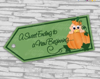 INSTANT DOWNLOAD - Pumpkin Baby Shower Favor Tags - NEUTRAL - Digital File