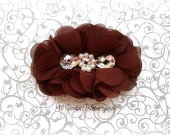 "Brown Flowers - Beaded Chrystal Chiffon Flower - Fabric Flower - Pearl Chrystal Flowers - Rosettes - Headband - Supplies - DIY- 5"""