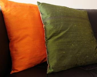 Dark Orange , Green Raw Silk  Pillow Cover in 16 x 16 inch Square , Bright Raw Silk Accent Pillow
