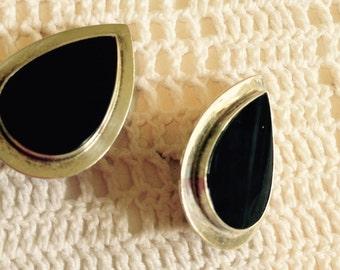 Sterling Silver Onyx Pierced Clip Earrings
