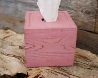Tissue Kleenex Cube Box Cover Pink Bathroom Decor Handmade Naturally Aged Distressed Wood