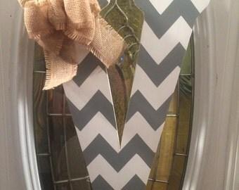 "V 18"" Custom Chevron Monogram Initial Wood Door or Wall Hanger"