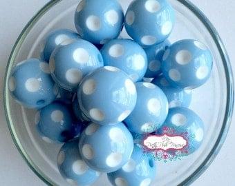 20mm Light Blue Sky Blue Polka Dot Chunky Bubblegum Beads Set of 10