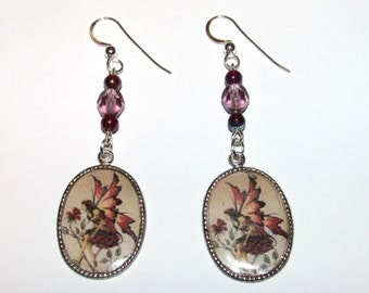 Rose Fairy Altered Art Earrings with Crystal Beads
