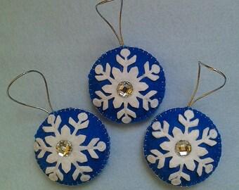 Felt Snowflakes Ornaments set of 3