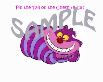 INSTANT DOWNLOAD - Pin the Tail on the Cheshire Cat for your Alice in Wonderland Tea Party