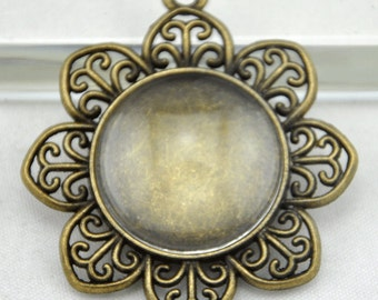 Cabochon Base --5pcs 25mm Antique Bronze Round Flower Bezel Charm Pendants ------G1251