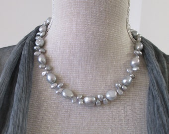 Silver pearls necklace with toggle clasp