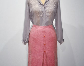 1960s Pink Wool Pleated Pencil Skirt