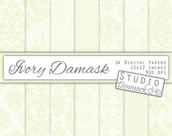 Ivory Damask Digital Paper - Elegant White Wedding Paper - Cream and White - Decorative Backgrounds - Commercial Use - Instant download