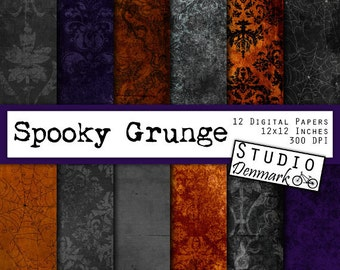 Halloween Backgrounds Digital Paper - Spooky Grunge - Black Orange Purple Scary / Ghostly / Gothic Damask and Spiderwebs - Instant Download