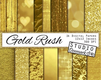 "Gold Digital Paper - ""Gold Rush"" - Gold Foil / Glitter / Metallic Commercial Use Gold Backgrounds - Instant Download"