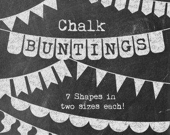 Chalkboard Buntings Clipart - Basic Chalk Banners - Simple / Versatile Flag Banners in Chalk - Commercial Use Clip Art -  Instant Download