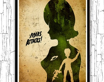 Tim Burton Mars Attacks Minimalist Poster