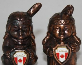 Vintage Native American Salt and Pepper Shakers Bronze or Brass Canada Flag Souvenir