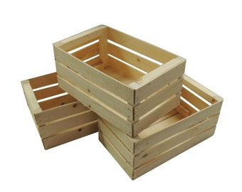 3 Small Wooden Crates Fully Assembled