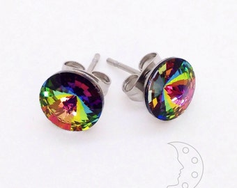 Multicolor rainbow Swarovski crystal stud earrings (vitrail medium) with stainless steel components, great for sensitive hypoallergenic ears