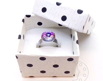 Fashion ring: multicolor vitrail light Swarovski crystal stainless steel adjustable ring (shades of purple, pink, pale blue and more)