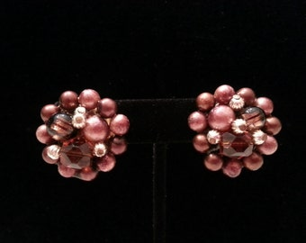Vintage 1950's Beaded Cluster Clip On Earrings in a Mauve and Cranberry, JAPAN