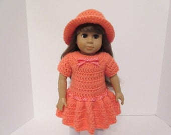 18 Inch Doll Clothes, 18 Inch Doll Outfit,  American Made, Girl Doll Clothes, Mango, Doll Dress and Doll Hat, Hand-Crocheted, #2398