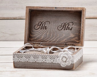 Rustic Ring Bearer Pillow Box with Lace and Shabby Chic Flower Rustic Weddings Ring Holder Custom Wooden Box /item HB-1