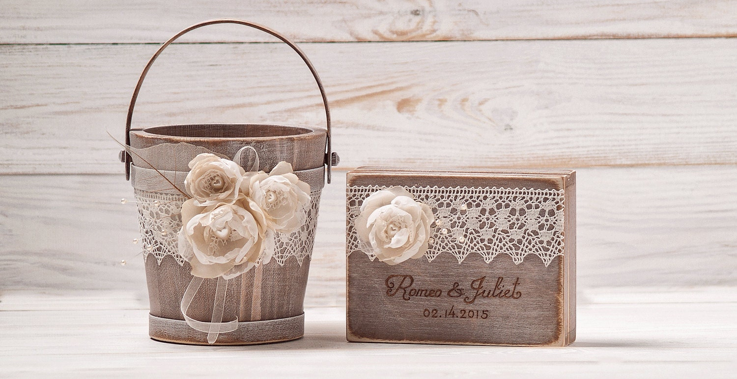 Flower Girl Basket And Ring Pillow Set Personalized Ring Box