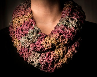 Crocheted Plum, Teal & Olive Cowl