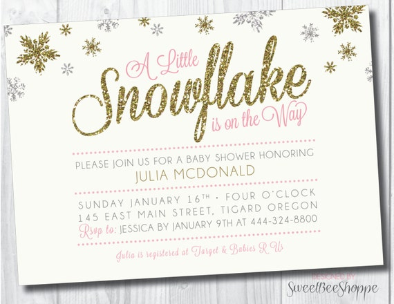 baby shower invitation snowflake on the way snowflake winter ba