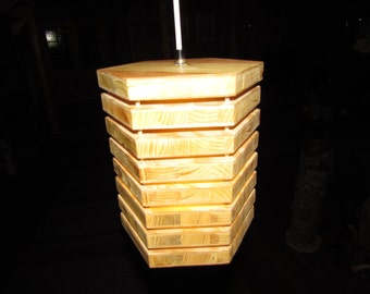 Hanging lamp made of wood - hexagon