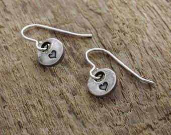 Silver Heart Earrings - Fine Silver Heart Earrings - Silver Heart Charm - Heart Charm Earrings - Sterling Silver Earrings - Heart Earrings
